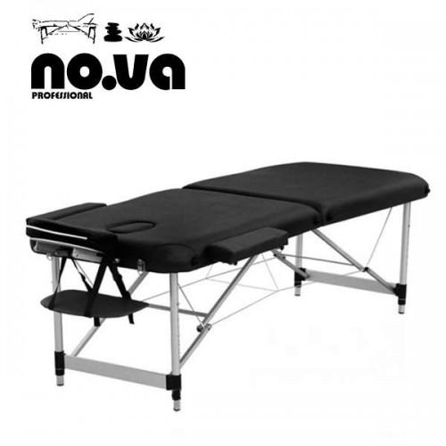 Алуминиева масажна кушетка в черно, двусекторна - NO.VA Aero NV22