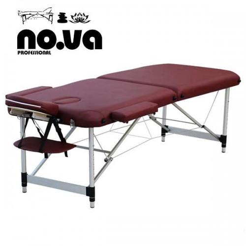 Алуминиева масажна кушетка в бордо, двусекторна - NO.VA Aero NV22