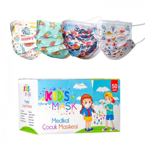 Кутия с 50 броя цветни медицински маски за деца