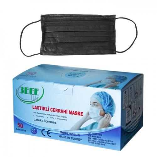 Трислойни черни медицински маски 3EEE - 50 броя