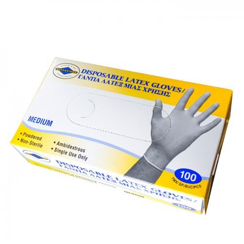 Еднократни ръкавици от латекс, M размер, 100 броя