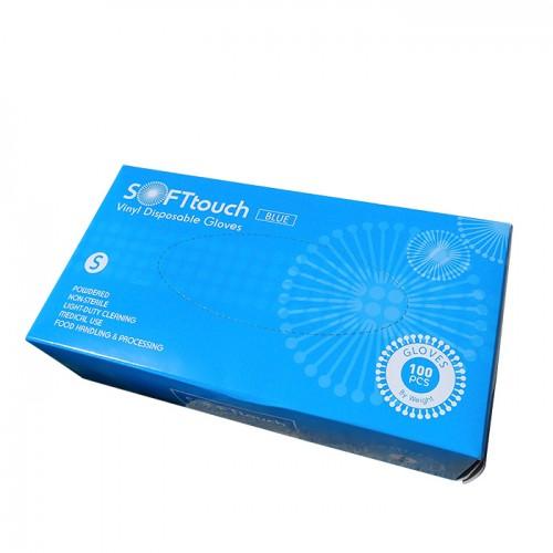 Soft touch сини винилови ръкавици с пудра 100 броя